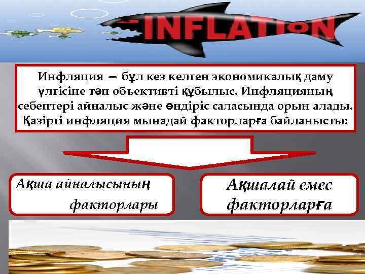 Инфляция — бұл кез келген экономикалық даму үлгісіне тән объективті құбылыс. Инфляцияның себептері айналыс