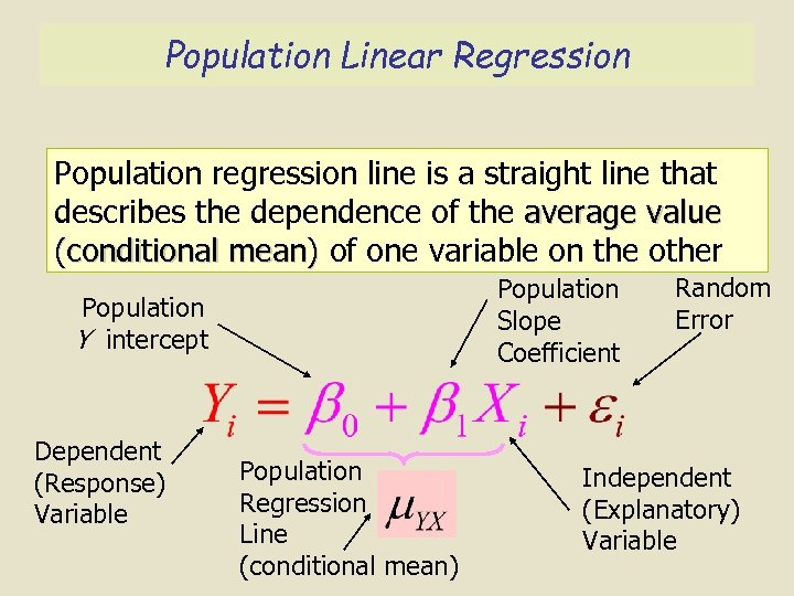 Population Linear Regression Population regression line is a straight line that describes the dependence