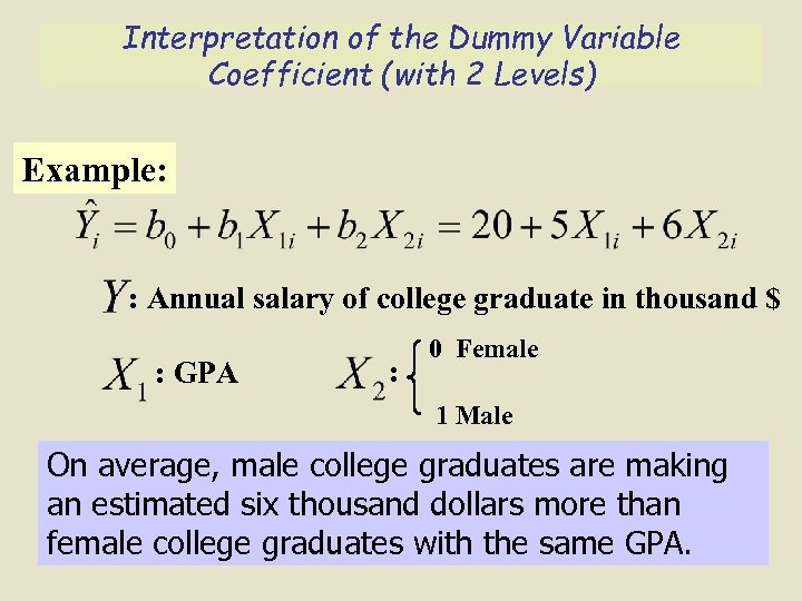 Interpretation of the Dummy Variable Coefficient (with 2 Levels) Example: : Annual salary of