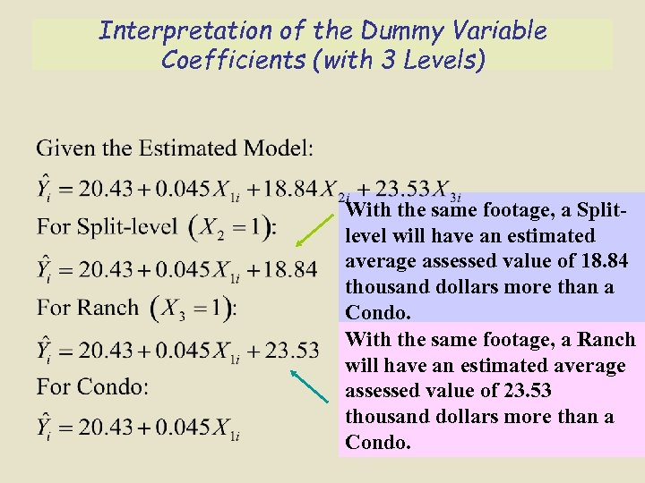 Interpretation of the Dummy Variable Coefficients (with 3 Levels) With the same footage, a