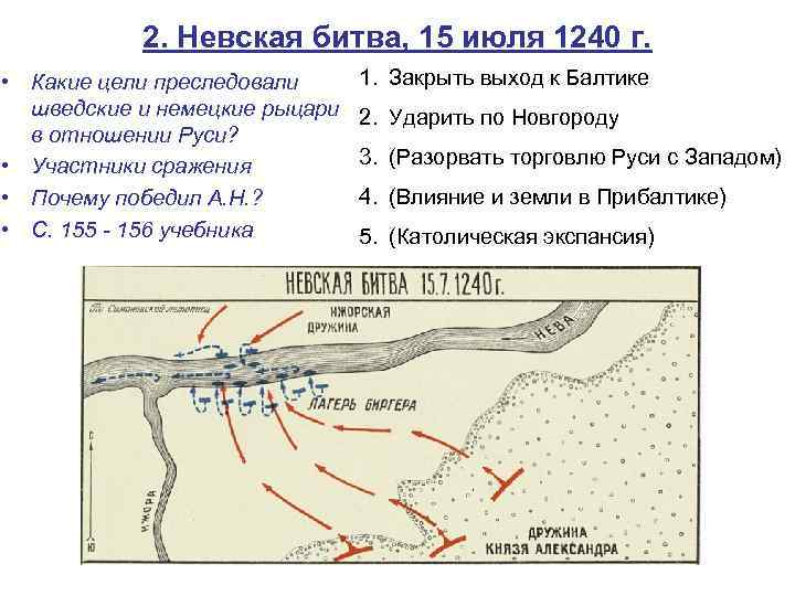 2. Невская битва, 15 июля 1240 г. • Какие цели преследовали шведские и немецкие