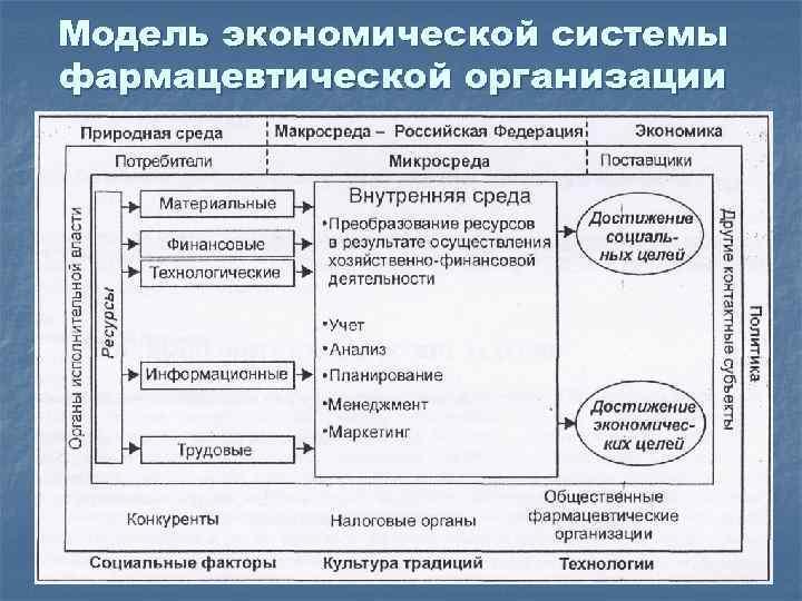 Модель экономической системы фармацевтической организации