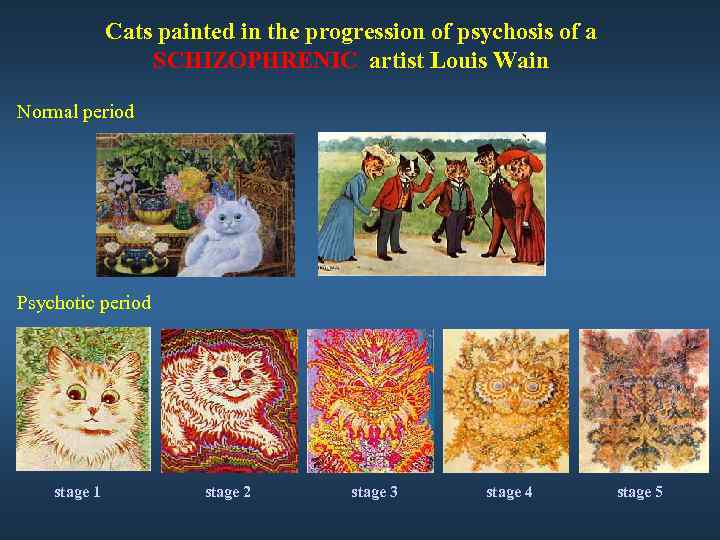 Cats painted in the progression of psychosis of a SCHIZOPHRENIC artist Louis Wain Normal