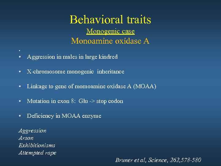 Behavioral traits Monogenic case Monoamine oxidase A • • Aggression in males in large