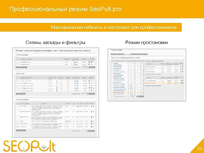 Профессиональный режим Seo. Pult. pro Максимальная гибкость в настройке для профессионалов Схемы, каскады и