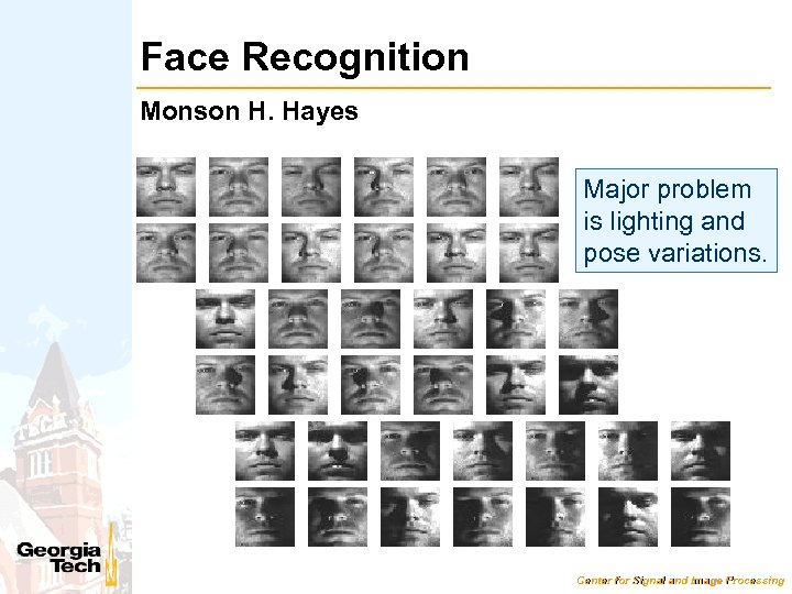 Face Recognition Monson H. Hayes Major problem is lighting and pose variations. Center for
