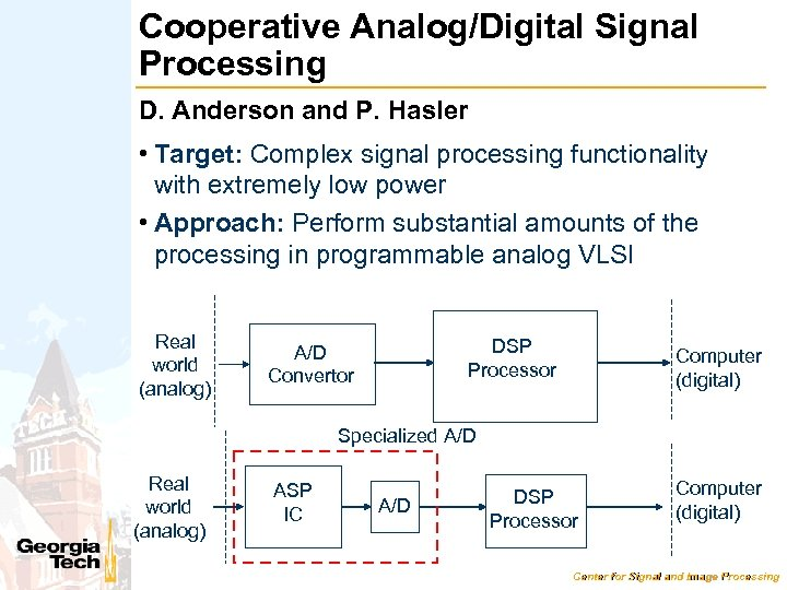 Cooperative Analog/Digital Signal Processing D. Anderson and P. Hasler • Target: Complex signal processing