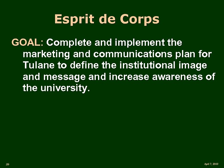 Esprit de Corps GOAL: Complete and implement the marketing and communications plan for Tulane