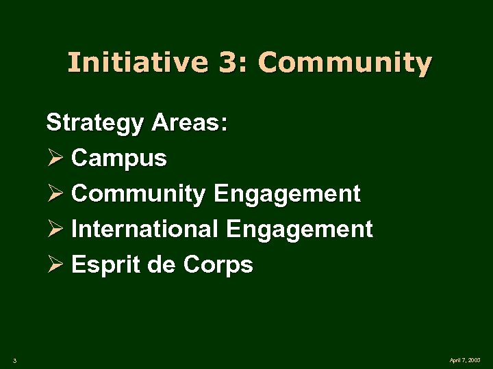 Initiative 3: Community Strategy Areas: Ø Campus Ø Community Engagement Ø International Engagement Ø