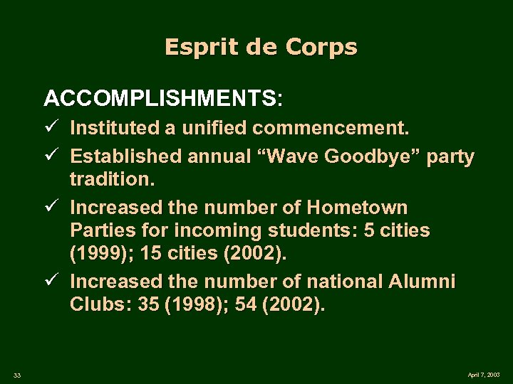"Esprit de Corps ACCOMPLISHMENTS: ü Instituted a unified commencement. ü Established annual ""Wave Goodbye"""