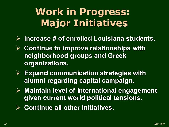 Work in Progress: Major Initiatives Ø Increase # of enrolled Louisiana students. Ø Continue