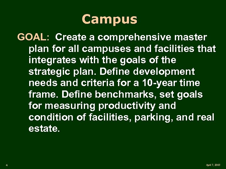 Campus GOAL: Create a comprehensive master plan for all campuses and facilities that integrates