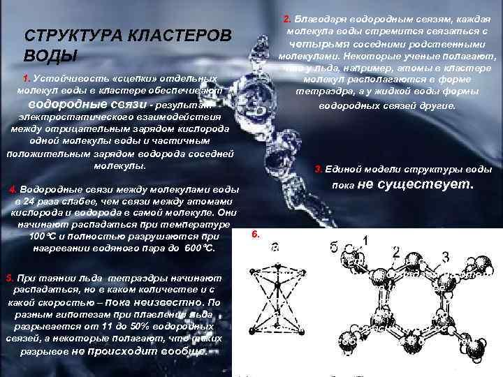 СТРУКТУРА КЛАСТЕРОВ ВОДЫ 1. Устойчивость «сцепки» отдельных молекул воды в кластере обеспечивают водородные связи