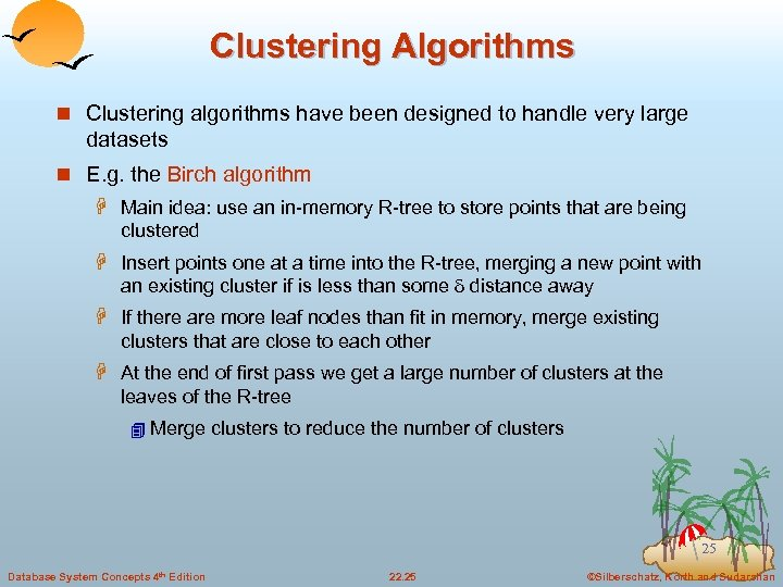 Clustering Algorithms n Clustering algorithms have been designed to handle very large datasets n