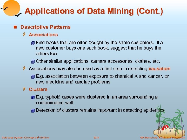 Applications of Data Mining (Cont. ) n Descriptive Patterns H Associations 4 Find books