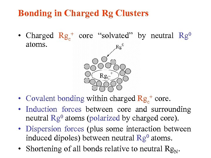 "Bonding in Charged Rg Clusters • Charged Rgc+ core ""solvated"" by neutral Rg 0"