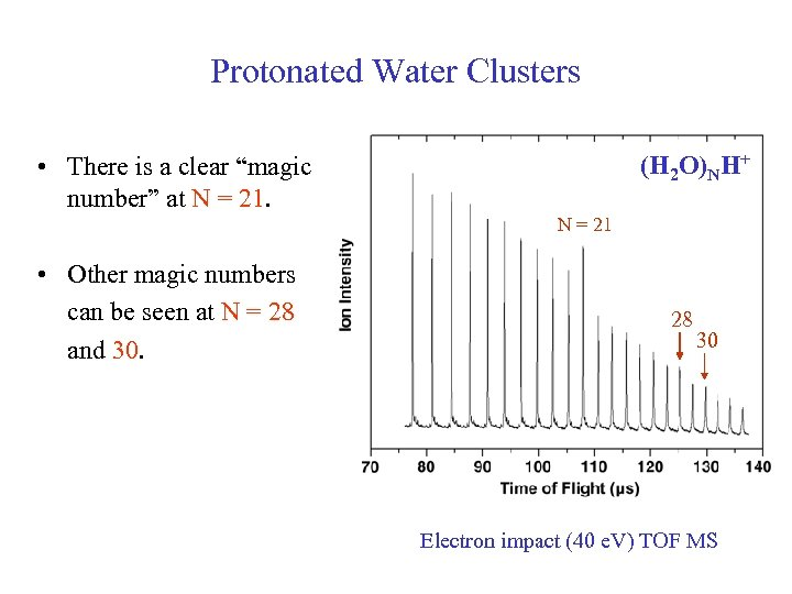 "Protonated Water Clusters (H 2 O)NH+ • There is a clear ""magic number"" at"