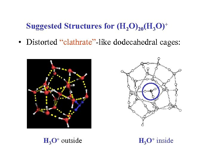 "Suggested Structures for (H 2 O)20(H 3 O)+ • Distorted ""clathrate""-like dodecahedral cages: H"