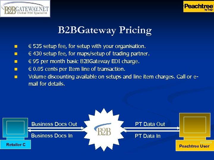 B 2 BGateway Pricing n n n € 535 setup fee, for setup with