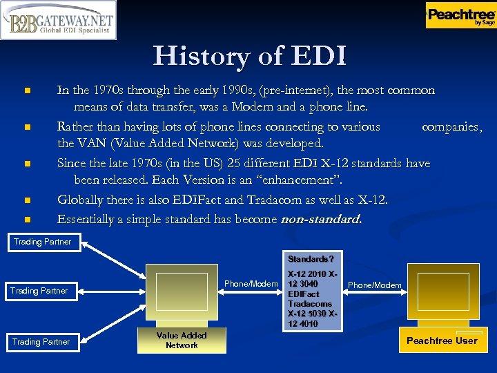 History of EDI n n n In the 1970 s through the early 1990