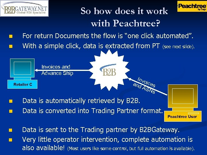 So how does it work with Peachtree? n n For return Documents the flow