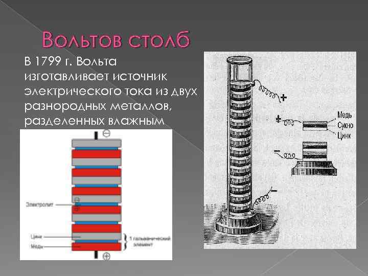 Вольтов столб В 1799 г. Вольта изготавливает источник электрического тока из двух разнородных металлов,