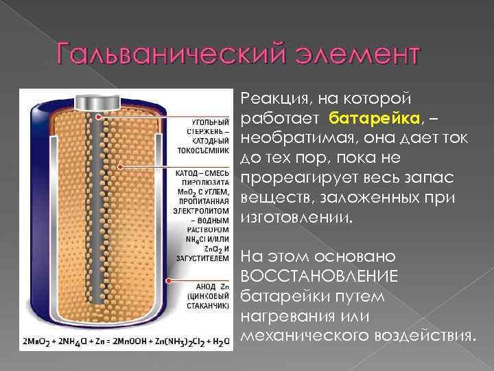 Гальванический элемент Реакция, на которой работает батарейка, – необратимая, она дает ток до тех