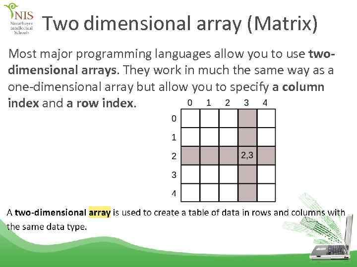 Two dimensional array (Matrix) Most major programming languages allow you to use twodimensional arrays.