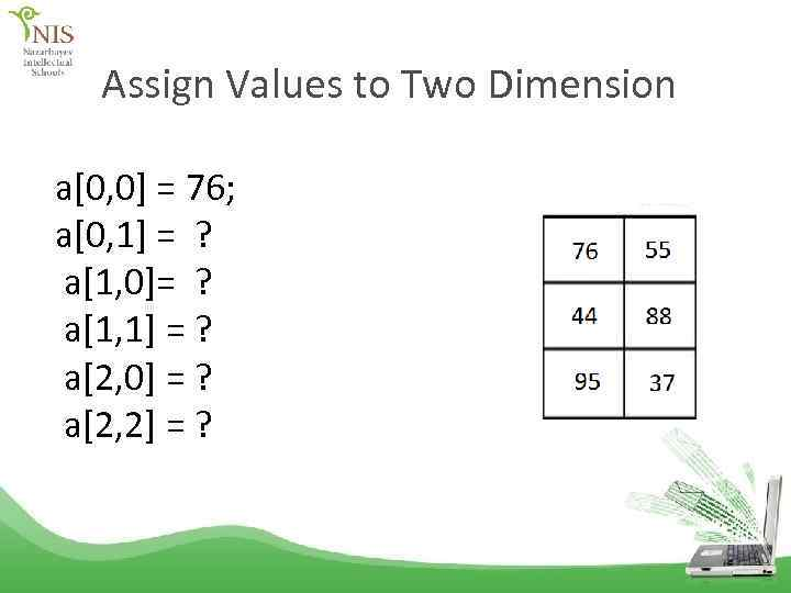 Assign Values to Two Dimension a[0, 0] = 76; a[0, 1] = ? a[1,