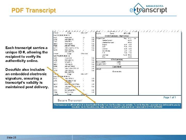 PDF Transcript Each transcript carries a unique ID #, allowing the recipient to verify