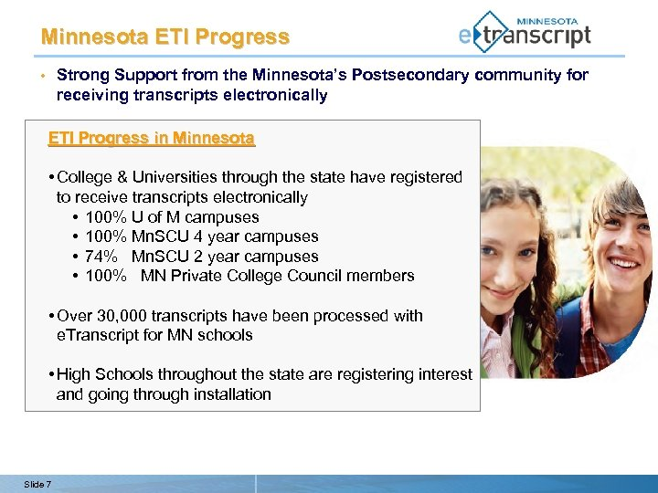 Minnesota ETI Progress Strong Support from the Minnesota's Postsecondary community for receiving transcripts electronically