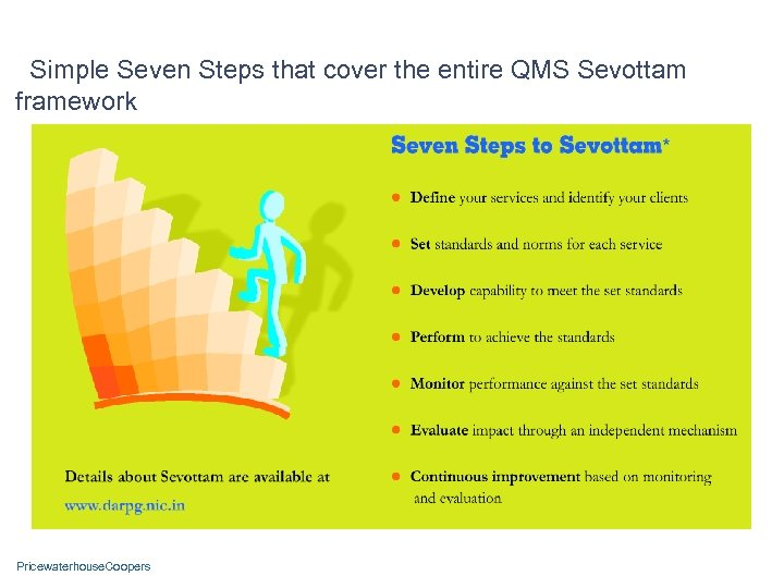 Simple Seven Steps that cover the entire QMS Sevottam framework Pricewaterhouse. Coopers