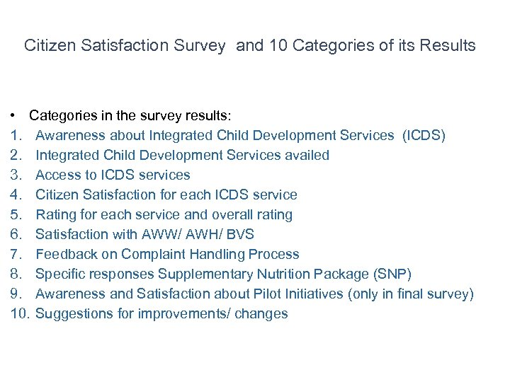 Citizen Satisfaction Survey and 10 Categories of its Results • Categories in the survey