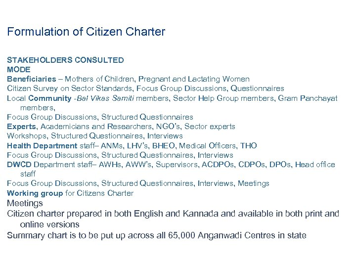 Formulation of Citizen Charter STAKEHOLDERS CONSULTED MODE Beneficiaries – Mothers of Children, Pregnant and