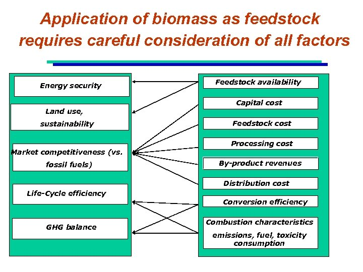 Application of biomass as feedstock requires careful consideration of all factors Energy security Land