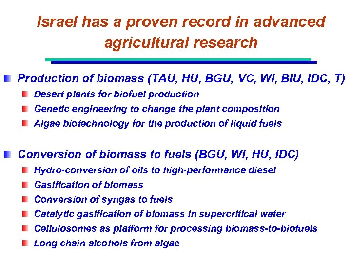 Israel has a proven record in advanced agricultural research Production of biomass (TAU, HU,