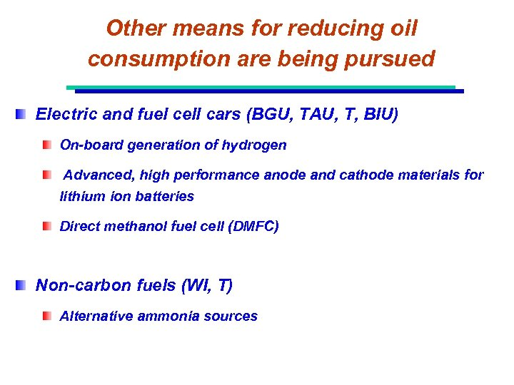 Other means for reducing oil consumption are being pursued Electric and fuel cell cars