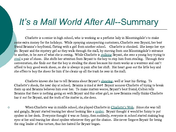 It's a Mall World After All--Summary Charlotte is a senior in high school, who