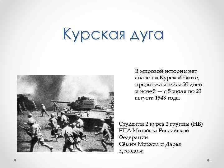 Курская дуга В мировой истории нет аналогов Курской битве, продолжавшейся 50 дней и ночей