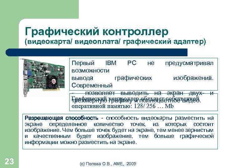 Графический контроллер (видеокарта/ видеоплата/ графический адаптер) Первый IBM PC не предусматривал возможности вывода графических