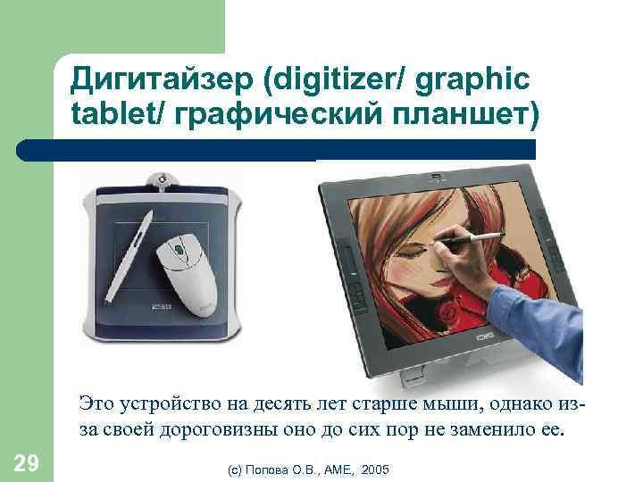 Дигитайзер (digitizer/ graphic tablet/ графический планшет) Это устройство на десять лет старше мыши, однако