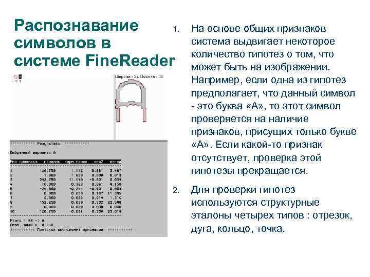 Распознавание 1. символов в системе Fine. Reader 2. На основе общих признаков система выдвигает
