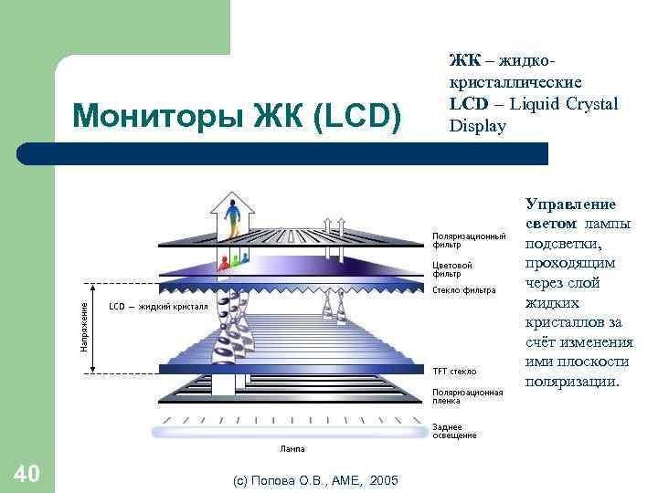Мониторы ЖК (LCD) ЖК – жидкокристаллические LCD – Liquid Crystal Display • Управление светом