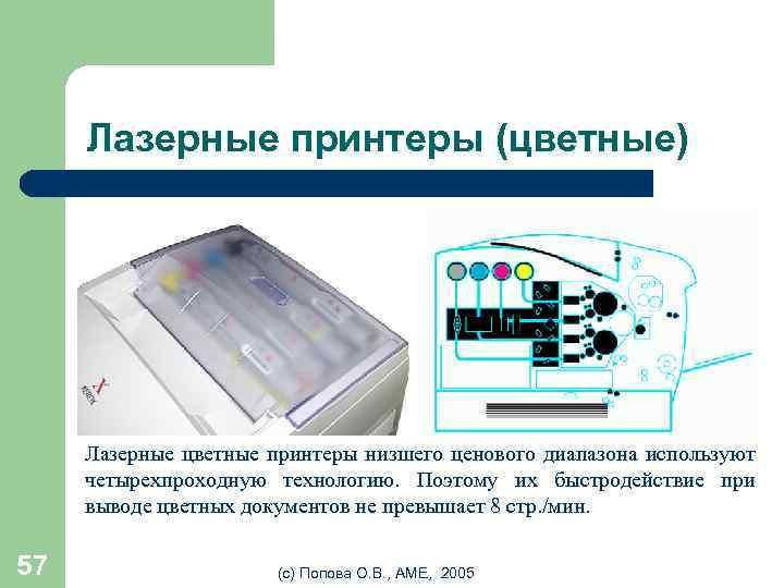 Лазерные принтеры (цветные) Лазерные цветные принтеры низшего ценового диапазона используют четырехпроходную технологию. Поэтому их