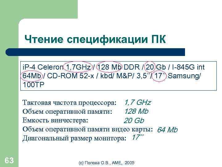 Чтение спецификации ПК i. P-4 Celeron 1, 7 GHz / 128 Mb DDR /