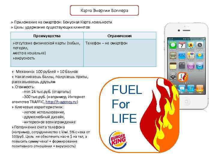 Карта Энергии Воппера Приложение на смартфон: Бонусная Карта лояльности Ø Цель: удержание существующих клинетов