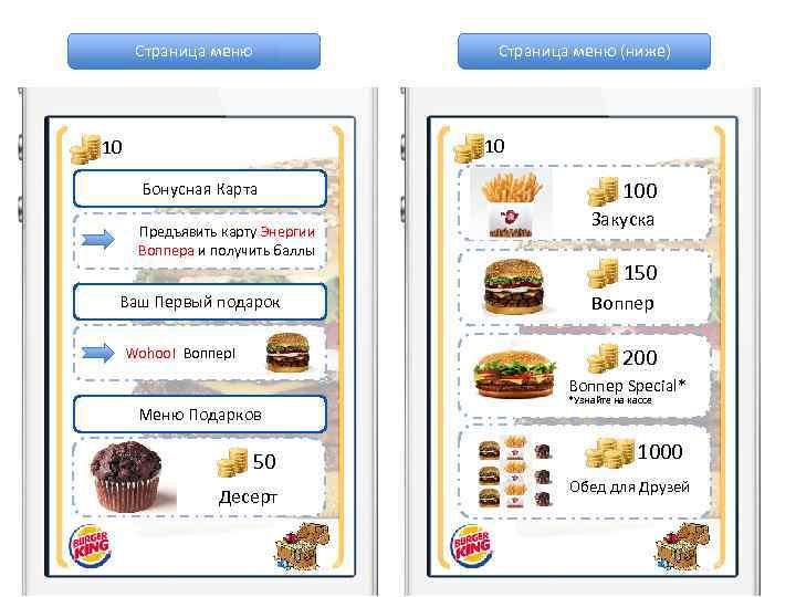 Страница меню (ниже) 10 10 Бонусная Карта Предъявить карту Энергии Воппера и получить баллы