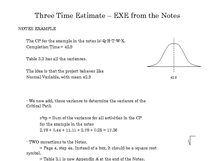 Three Time Estimate – EXE from the Notes NOTES EXAMPLE The CP for the