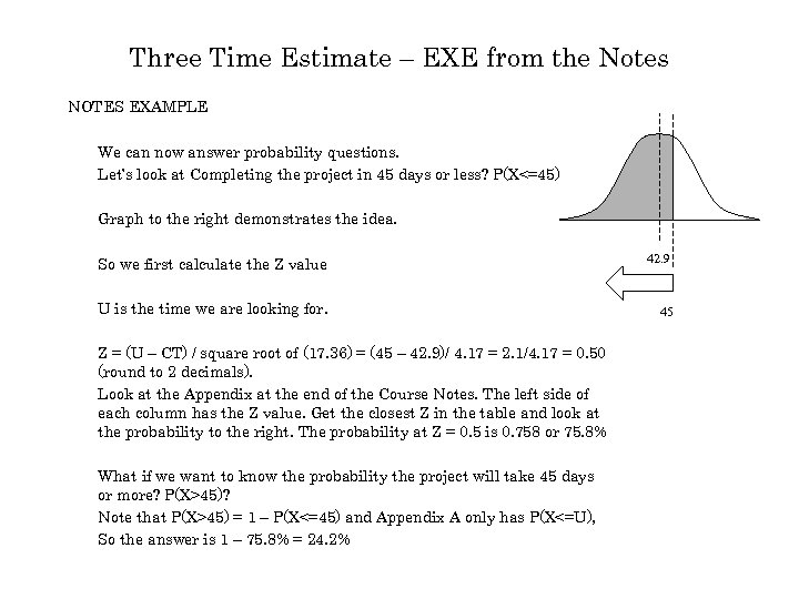 Three Time Estimate – EXE from the Notes NOTES EXAMPLE We can now answer