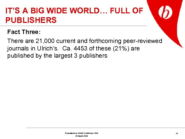 IT'S A BIG WIDE WORLD… FULL OF PUBLISHERS Fact Three: There are 21, 000